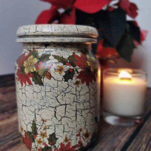 Słoik świąteczny decoupage – gwiazda betlejemska