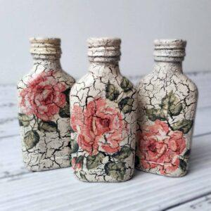 3 buteleczki decoupage w róże