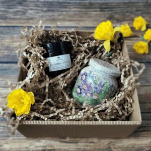 paczka ze słoikiem decoupage - wiosna