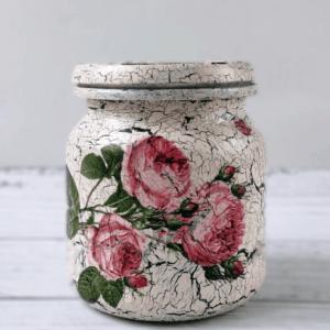 słoik decoupage w róże